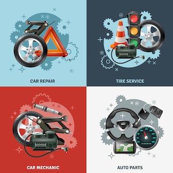 Conjunto de iconos de concepto de servicio de coche