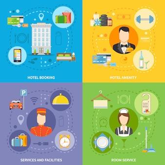 Conjunto de iconos de concepto de servicio de hotel