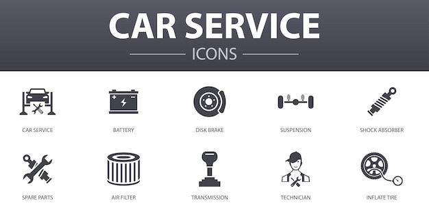 Conjunto de iconos de concepto simple de servicio de coche. contiene iconos como freno de disco, suspensión, repuestos, transmisión y más, se puede utilizar para web, logotipo, ui / ux