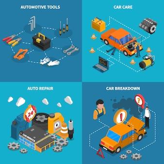 Conjunto de iconos conceptual isométrico de servicio de coche