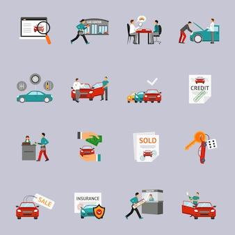 Conjunto de iconos de concesionario de coches