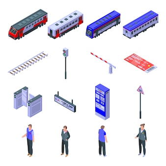 Conjunto de iconos de conductor de tren eléctrico