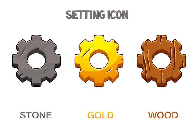 Conjunto de iconos de configuración de engranajes en estilo dorado, madera y piedra