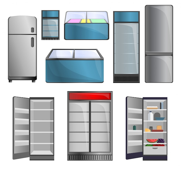 Conjunto de iconos de congelador. conjunto de dibujos animados de iconos de vector de congelador para diseño web