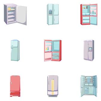 Conjunto de iconos de congelador, estilo de dibujos animados