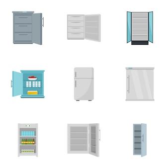 Conjunto de iconos de congelador, estilo plano