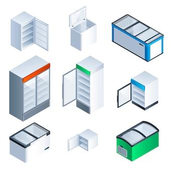Conjunto de iconos de congelador. juego isométrico de congelador.