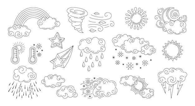 Conjunto de iconos de conjunto de doodle de tiempo aislado en blanco
