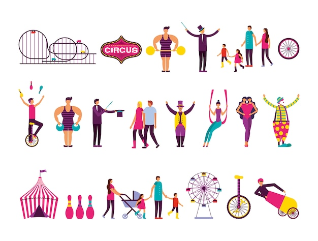 Conjunto de iconos de conjunto de personas y feria de circo