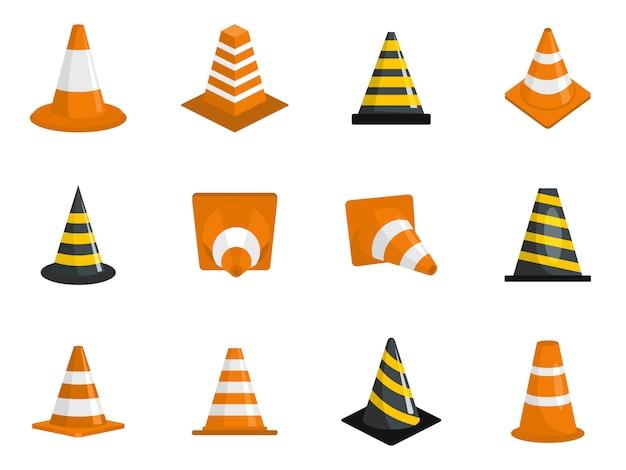 Conjunto de iconos de cono de tráfico