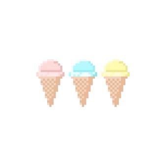 Conjunto de iconos de cono de waffle de helado pastel de pixel art.