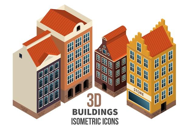 Conjunto de iconos de construcción 3d. edificios residenciales con local comercial en el primer piso. ilustración vectorial