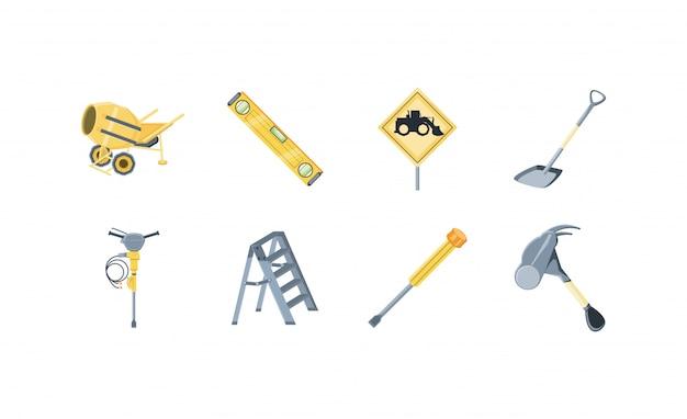 Conjunto de iconos de construcción aislada