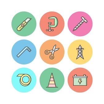 Conjunto de iconos de construcción aislado en blanco