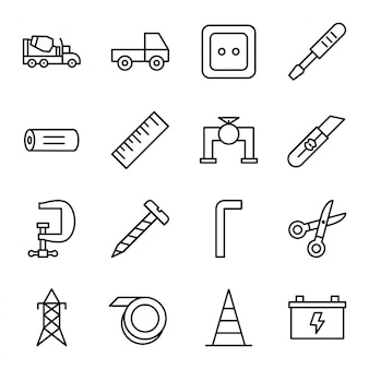 Conjunto de iconos de construcción aislados sobre fondo blanco.