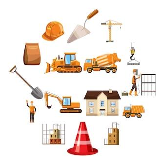 Conjunto de iconos de construcción, estilo de dibujos animados