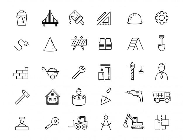 Conjunto de iconos de construcción lineal. iconos de ingeniería en diseño simple.