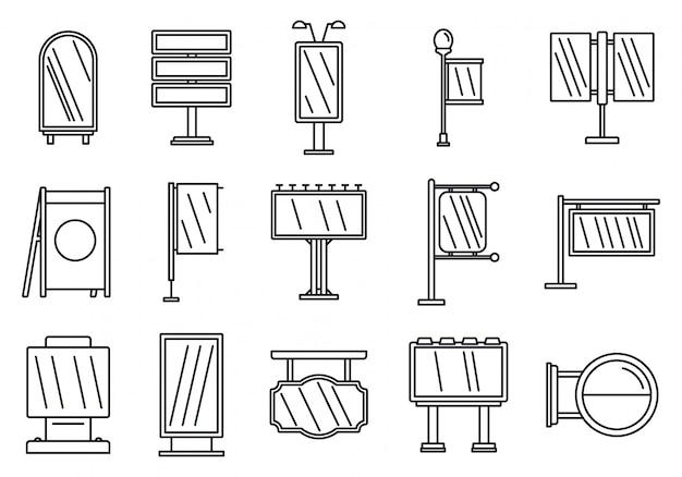 Conjunto de iconos de construcción de publicidad al aire libre