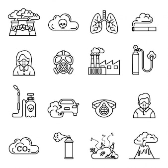 Conjunto de iconos de contaminación del aire