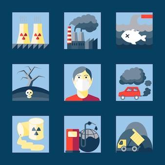 Conjunto de iconos de la contaminación