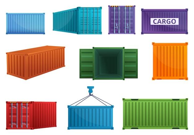 Conjunto de iconos de contenedores de carga, estilo de dibujos animados