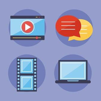 Conjunto de iconos de contenido multimedia