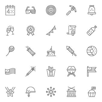 Conjunto de iconos de contorno de 4 de julio