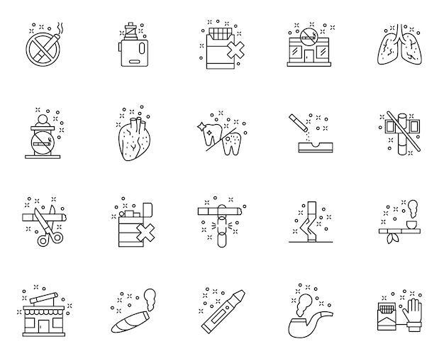 Conjunto de iconos de contorno anti tabaco