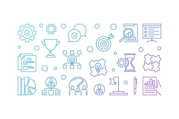 Conjunto de iconos de contorno colorido de valores fundamentales