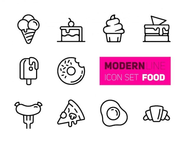 Conjunto de iconos de contorno de la comida