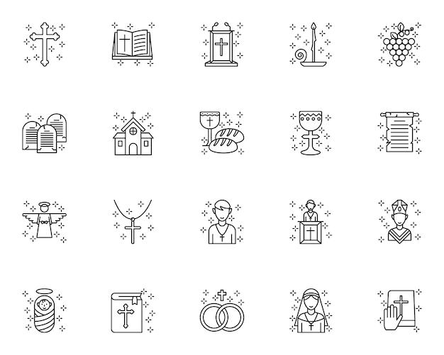 Conjunto de iconos de contorno cristiano
