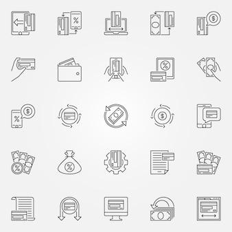 Conjunto de iconos de contorno de devolución de dinero. devolución de dinero y signos de dinero
