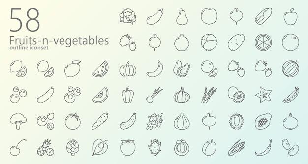 Conjunto de iconos de contorno de frutas y verduras