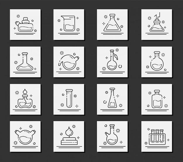Conjunto de iconos de contorno - matraces de laboratorio, tubos de ensayo para experimentos científicos. laboratorio quimico