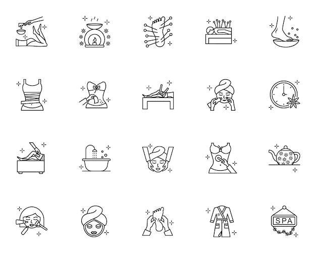 Conjunto de iconos de contorno de spa