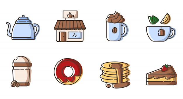 Conjunto de iconos de contorno: té y café, bebidas calientes, bebidas y postres para el desayuno.