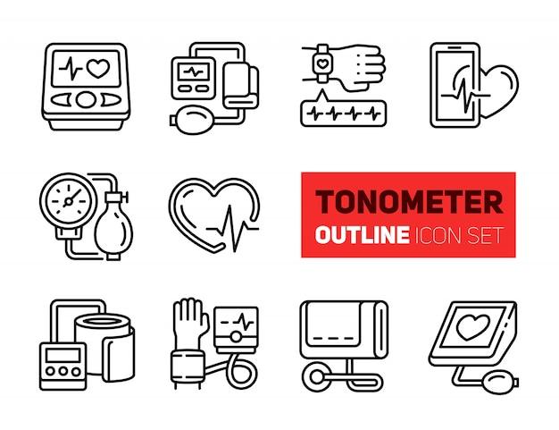 Conjunto de iconos de contorno tonómetro