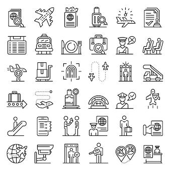 Conjunto de iconos de control de pasaportes, estilo de contorno
