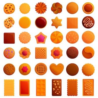 Conjunto de iconos de cookies, estilo de dibujos animados