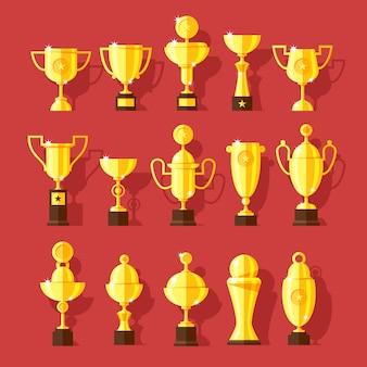 Conjunto de iconos de copas de premio deporte dorado en estilo moderno.