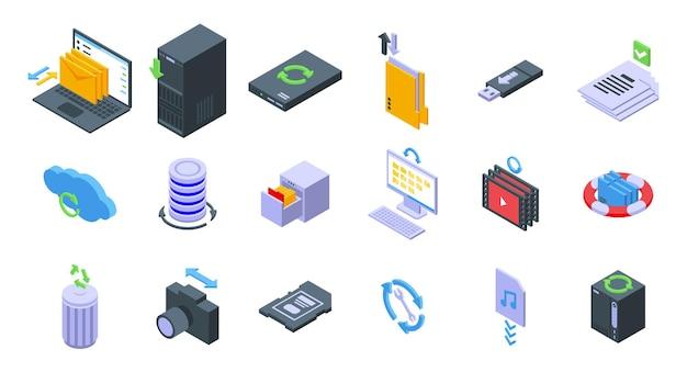 Conjunto de iconos de copias de seguridad. conjunto isométrico de iconos de vector de copias de seguridad para diseño web aislado sobre fondo blanco