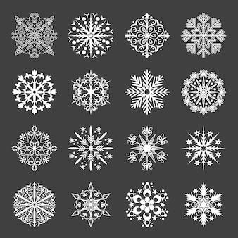 Conjunto de iconos de copo de nieve.