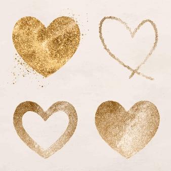 Conjunto de iconos de corazón de oro brillante