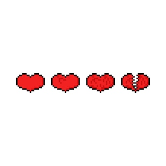 Conjunto de iconos de corazón pixel art juego.
