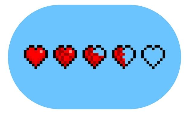 Conjunto de iconos de corazón de punto de salud de pixel art.