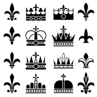 Conjunto de iconos de corona y flor de lis