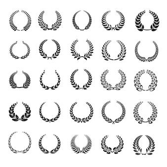 Conjunto de iconos de corona de laurel
