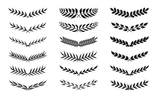 Conjunto de iconos de corona vintage de forma semicircular silueta negra