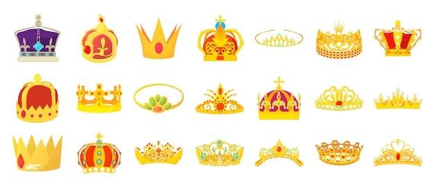 Conjunto de iconos de la corona