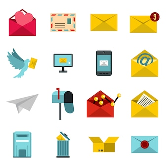 Conjunto de iconos de correo electrónico, ctyle plana